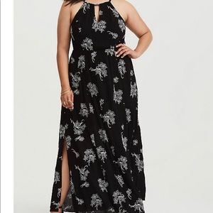 Torrid 00 Black and White Embroidered Gauze Maxi